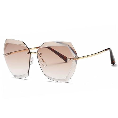 bb231011bc AEVOGUE Sunglasses For Women Oversized Rimless Diamond Cutting Lens Sun  Glasses AE0534