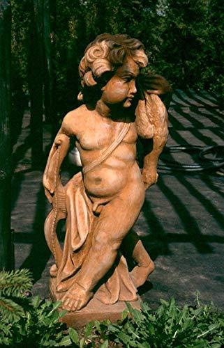 Casa Padrino Art Nouveau Escultura Cupido 39 x H 81 cm Tonos Tierra Antiguos - decoración barroca del jardín