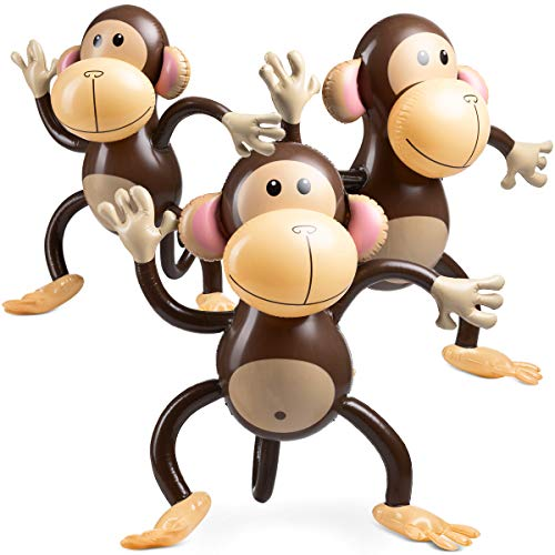 Large Inflatable Monkey (Pack Of 3) 27 Inch Monkeys, For Baby Shower, Safari, Jungle Themed Party's, Birthday Favors And Decorations, For Kids And Toddlers