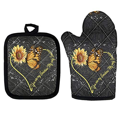 Upetstory Butterfly Sunflower Oven Mitts & Potholder Heat Resistant Pads Set 2 Pack Microwave Baking Mitt for Baking Grilling Cooking Potholder with Hang Loop You are My Sunshine