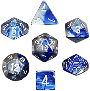 Chessex Polyhedral 7-Die Gemini Dice Set - Blue-Steel with White CHX-26423
