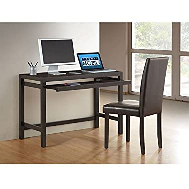 TECHNI MOBILI Modern Matching Desk with Keyboard Panel and Chair Set - Wenge