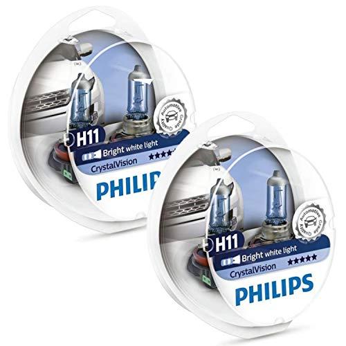Philips H11 CrystalVision Ultra Upgrade Bright White Headlight Bulb, 4 Pack