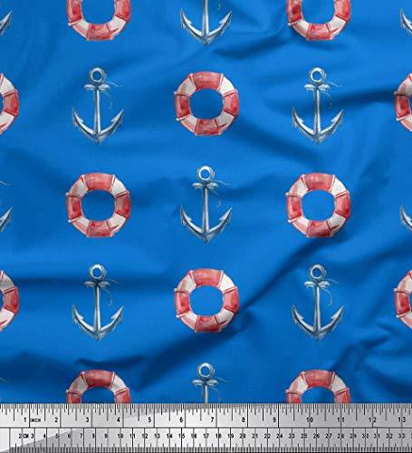 Soimoi Blau Baumwolle Ente Stoff Rettungsring & Ankerhaken nautisch Stoff Drucke Meter 42 Zoll breit