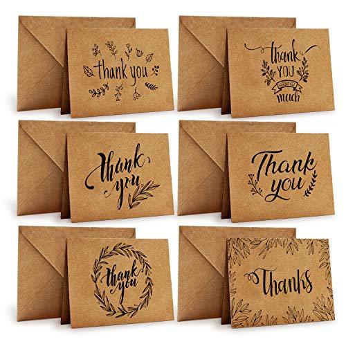 Dankeskarten, Ohuhu 36 Pack Braune Papier Dankeskarten Grußkarten W/ 36 Karton Umschläge für Grüße, Abschlüsse,10X15 cm
