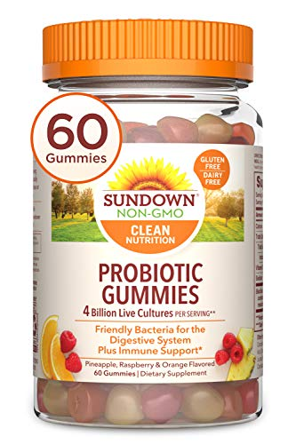 Probiotic Gummies by Sundown, with Vitamin D, Supports Digestive and Immune Health, Non-GMO, Free of Gluten, Dairy, Artificial Flavors, 60 Gummies