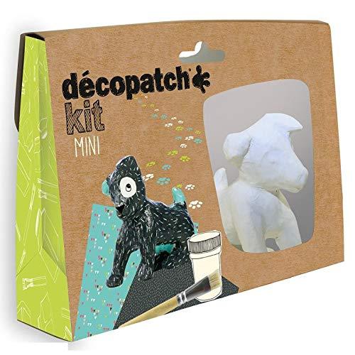Decopatch Mini-creatiefset voor kleine honden, zittend, 9 x 9 cm, van gips met bladeren, lijm en penseel