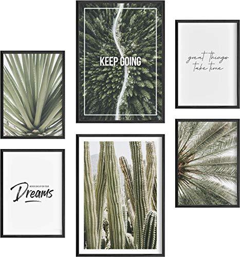 Mia Félice Moderne Wand-Bilder für das Wohnzimmer, Schlaf-Zimmer, Flur Tumblr Wand-Deko modern - Wand-Dekoration Wohnung » Great Things « Kaktus Kakteen Poster-Set Wand-Bild - ohne Bilderrahmen