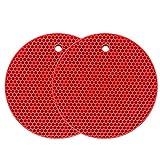 Sottopentola in silicone Tappetino multiuso per asciugatura Sottopentola resistente al calore fino a 464 ° F, presina, impermeabile, (set di 2) antiscivolo, flessibile, durevole (Rosso)