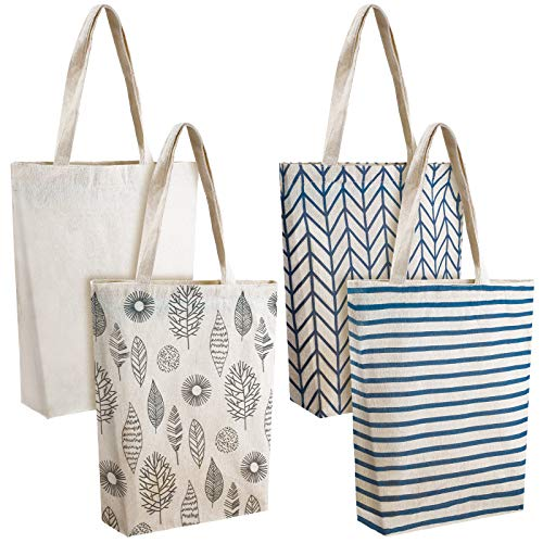 4 Pieces Canvas Tote Bags Stripe Reusable Canvas Bags Travel Grocery Shopping Makeup Bags for Girls Women