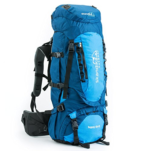 skandika Trekkingrucksack Bogong 65+10-Sac &Agrave Dos Trekking Randonn&Eacutee Mixte, Gris-Marineblau/Blau, 65 x 30 x 24 cm, 65 Liter
