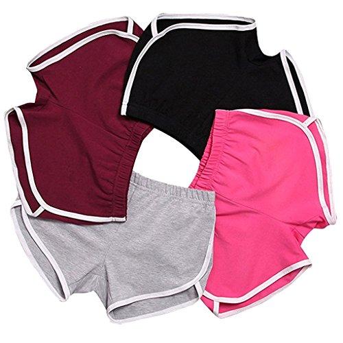 Minetom Femme Short De Sport Pantalon Court Casual Yoga Mode Plage 4 Couleurs Hot Pants Été Jogging Élastique Doux Respirant 4 Pièces EU S