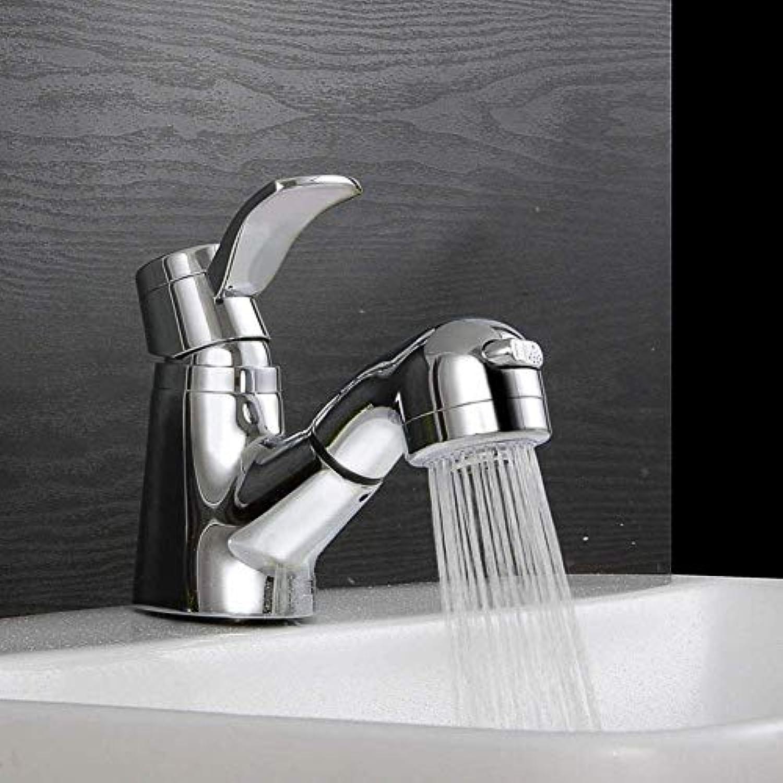 360 ° drehbarer Wasserhahn Retro Wasserhahn Waschbecken Wasserhahn Einhand-Loch Warmes und kaltes Wasser Zwei Funktionen Dusche Waschbecken Bad Wasserhahn