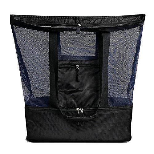 BigForest Grand sac de plage en maille avec fermeture éclair sur le dessus et sac isotherme pour pique-nique