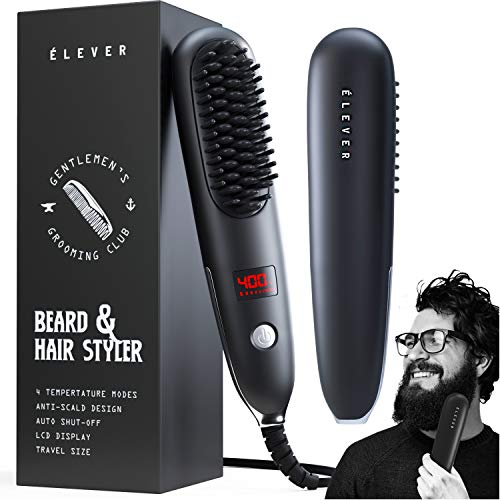 ÉLEVER Beard Straightener - 2-1 Portable Beard Brush & Hair Straightener. Best Beard Straightener For Men. Ionic, heat beard straightening comb. Men beard straightener comb with velvet pouch (2020)