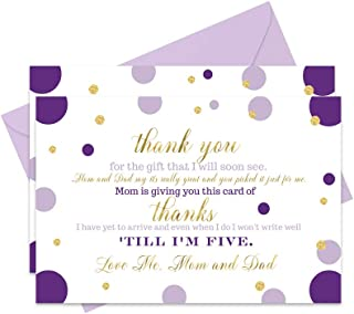 Purple and Gold Baby Shower Thank You Cards with Envelopes (15 Pack)
