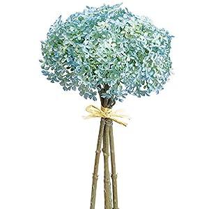 12″ Silk Snowball Flower Stem Bundle -Light Blue (Pack of 12)