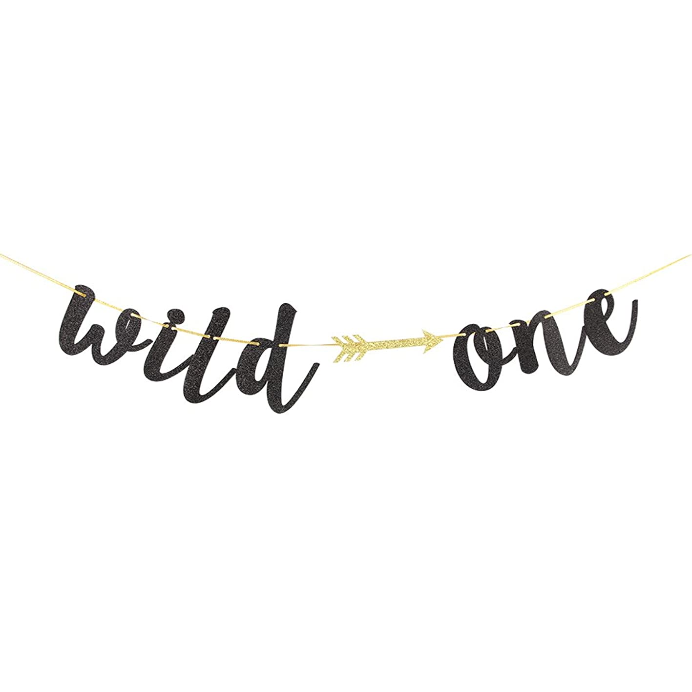Karoo Jan Black Glitter Wild One Banner with Arrow Happy 1st Birthday Party Decoration Bunting Photo Props, Party Supplies qndnsrsufbb168