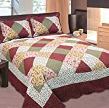 Mk Collection King Size 3pc Bedspread Floral Patchwork Off White Burgundy Pink Beige Coverlet Set New 0015001
