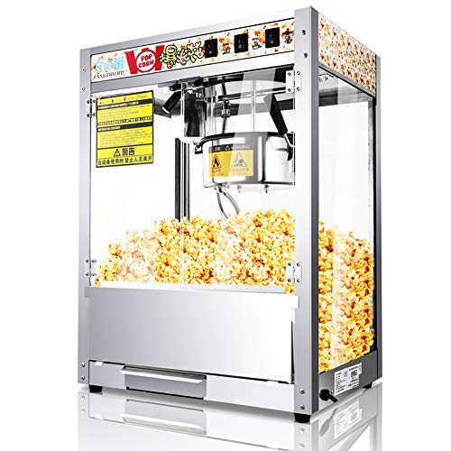 Peaceip 1250W Popcornmachine, commerciële popcornfabrikant met ingebouwde isolatielamp en Teflon anti-aanbaklaag popcornmachine met grote capaciteit