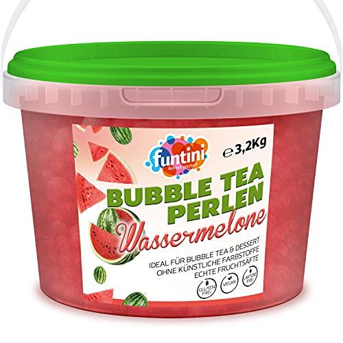 funtini Bubble Tea Perlen 3,2 kg Wassermelone - popping boba fruchtperlen, Bubbles für Bubble Tea – Fruchtperlen Bubble Tea vegan, laktosefrei & glutenfrei, frei von künstlichen Farbstoffen *2021
