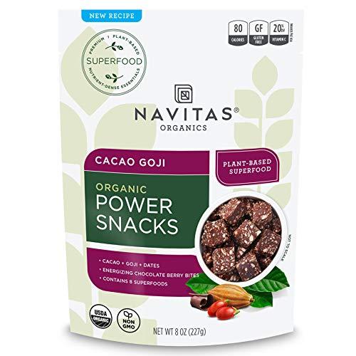 Navitas Organics Superfood Power Snacks, Cacao Goji, 8 oz. Bag — Organic, Non-GMO, Gluten-Free, No Sugar Added