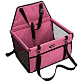 Lyricalife Pet Car Seat, Sturdy Reinforced Structure, Shortened Leash with Metal Snap Hook, Loops for Seat Belt, Waterproof Thick Soft Fleece Pad, Ideal Booster Seat for Small and Medium Cats and Dogs