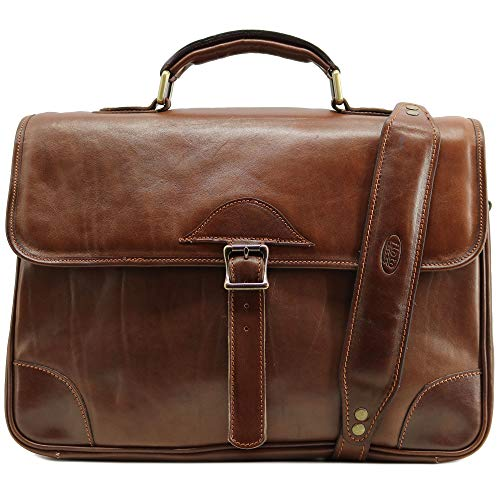 Floto Cortona Roller Buckle Briefcase Messenger Bag in Brown Hand Stained Leather