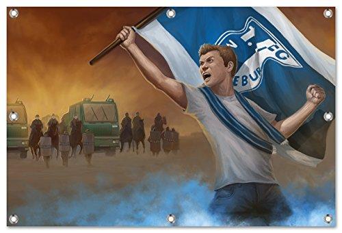 Ultras Magdeburg Bild auf PVC Plane / PVC Banner inkl Ösen, Maße: 120x80 cm