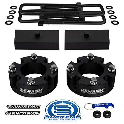 """Supreme Suspensions - Full Lift Kit for 2007-2020 Toyota Tundra 3"""" Front Lift Strut Spacers + 1"""" Rear Lift Steel Blocks + Square Bend U-Bolts 2WD 4WD (Black)"""