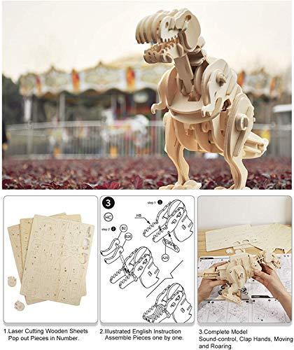 ROKR D210 T-Rex Holz 3D Puzzle ~ Walks & Brüllt ~ Sound aktiviert