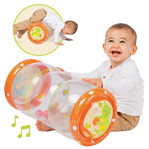 """LUDI - Baby roller """"Chat"""" 40 x 25 x 20 cm dès 6 mois. Rouleau gonflable qui développe la motricité des enfants. 3 balles sonores à faire circuler d'étage en étage - 3451"""