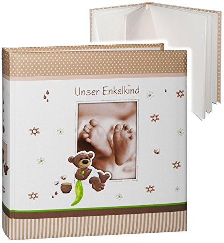 alles-meine.de GmbH großes Fotoalbum -  Unser Enkelkind  __ süßer Teddybär & Babyfüße __ Album - Gebunden zum Einkleben & Eintragen - blanko weiß - groß 60 Seiten - für bis zu ..