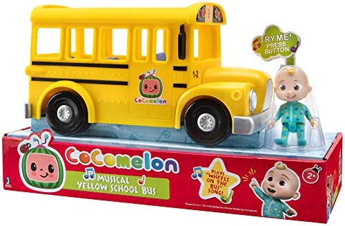 Cocomelon Official Musical Yellow School Bus Plays Wheels on The Bus Featuring Removable JJ product image