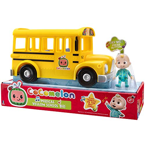 Cocomelon Official Musical Yellow School Bus, Plays Clips from 'Wheels on The Bus,' Featuring Removable JJ Figure – Character Toys for Babies, Toddlers, and Kids