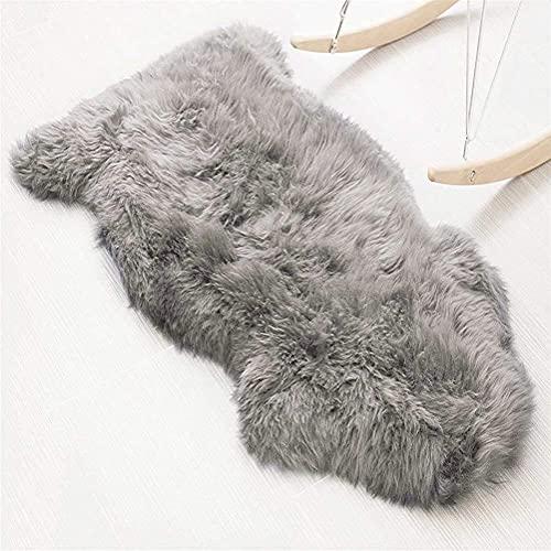KAIHONG Faux Lammfell Schaffell Teppich (75 x 120 cm) Lammfellimitat Teppich Longhair Fell Optik Nachahmung Wolle Bettvorleger Sofa Matte (Grau)