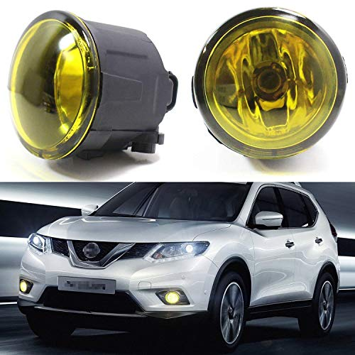 iJDMTOY Pair of Selective Yellow Lens Halogen Fog Lamps Compatible With Infiniti EX FX G M Q Nissan Cube Juke Murano Quest Versa etc, Driver Passenger Side Assembly w/ (2) 55W H11 Halogen Bulbs