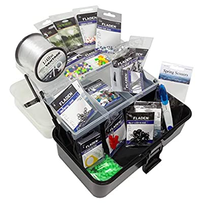 FLADEN Fishing - 550 PLUS Assorted SHORE BOAT SEA FISHING Fully Loaded Terminal Tackle Box Set - Make Repair All Your Own Rigs Accessory - in a 2 Tray Cantilever Box Pack - 27cm x 15cm x 13cm [19-101]