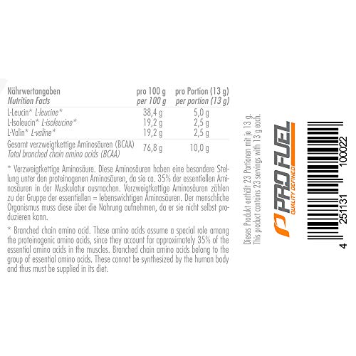 PROFUEL® Alphaminos Blutorange – BCAA 2:1:1 (Leucin, Isoleucin & Valin) – Hervorragende Löslichkeit und sensationeller Geschmack – Hochwertige verzweigkettinge Aminosäuren made in Germany – Vor, während oder nach dem Training – 300 Gramm Dose (Pulver) - 6