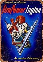 ブリキ看板1951カーアートサイン火力エンジンコレクターウォールアート