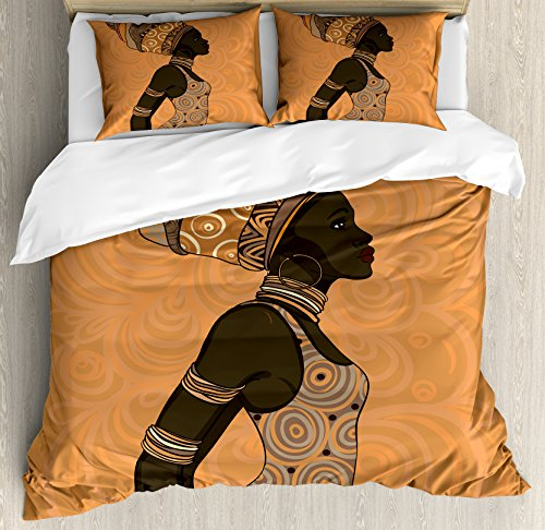 Ambesonne African Woman Duvet Cover Set King Size, Indigenous People of Africa Theme Local Woman in Traditional Turban and Dress, Decorative 3 Piece Bedding Set with 2 Pillow Shams, Multicolor