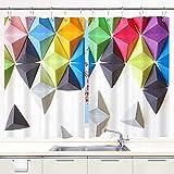 Cortina de Cocina,Fondo de Colores con Fondo Blanco Abstracto 3D Origami tetraedros, Cortinas Opacas térmicas Forradas para Ventana, 55 x 39 Pulgadas, 2 Paneles, Juego