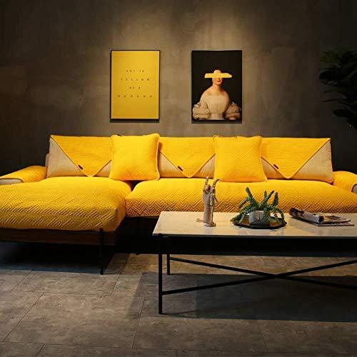 J-Kissen Reversible Sofa Cover, Gesteppte Couch Abdeckung rechteckige Möbel-Schutz-Husse for Haustiere Anti-Rutsch-Sofa Kissenüberzüge (Color : Yellow, Size : 90x160cm(35x63inch))
