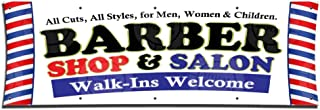 Barber Shop & Salon Banner (3ft X 9ft) Open Lounge Sign Beauty Display Haircuts Poster Pole
