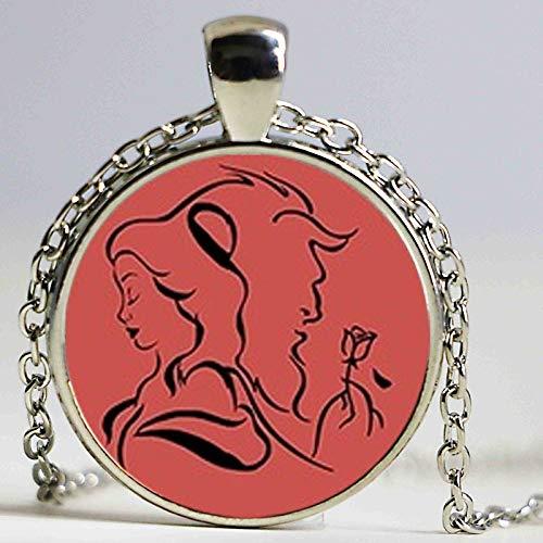 Collar con colgante de rosa de la Bella y la Bestia para mujeres y niñas