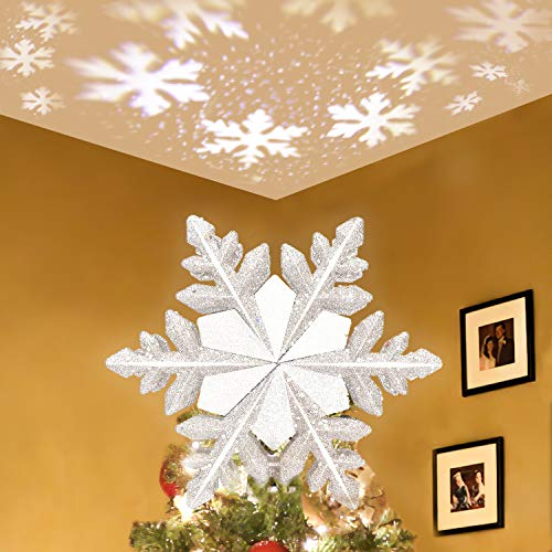 Lanpuly Christmas Tree Topper Star Lighted,3D Glitter Sliver Snow Tree Toppers Snowflake Projector Lights Lighting for Decoration