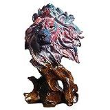 H HILABEE Escultura de Cabeza de Animal de Resina para la decoración de la habitación Escultura de Arte Artesanal para el Pasillo de la Sala de Estar Mesa de - León