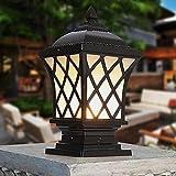Luces de poste de columna de porche rural americano Cuadrado negro Antorcha de césped victoriana Lámparas de pie Lámpara de pilar de aluminio impermeable Columna de valla Pedestal Puerta de luz Bolar