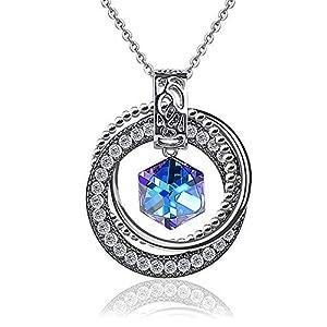 ChasBete Damen Halskette, Kristalle von Swarovski, Anhänger Halskette für Frauen 40 + 5 cm