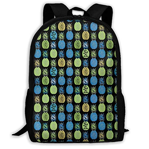 TRFashion Pineapple Blue Repeat Fashion Outdoor Shoulders Bag Durable Travel Camping for Kids Backpacks